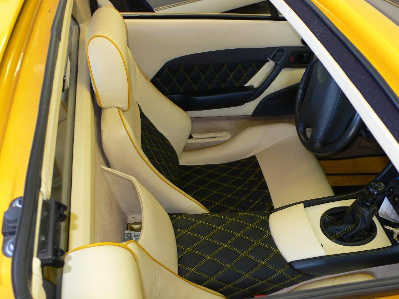 Tired Of Your Stock Interior, The Owner Of This Lotus Was. With His Input  We Decided On Double Diamond Stitched Black Leather Seat Inserts, ...